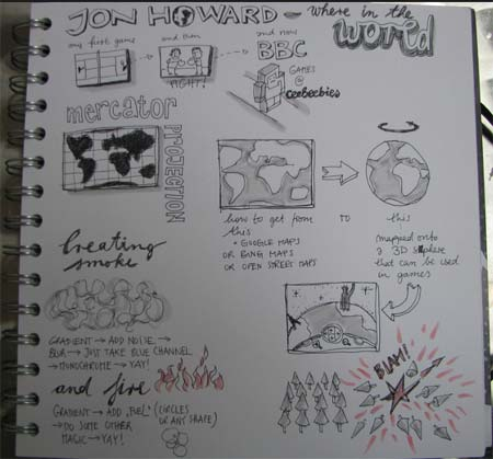 Hand sketch of the 'Where in the World?' sketch
